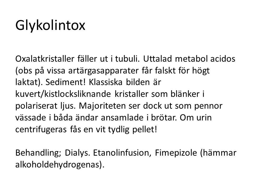 Glykolintox Oxalatkristaller fäller ut i tubuli