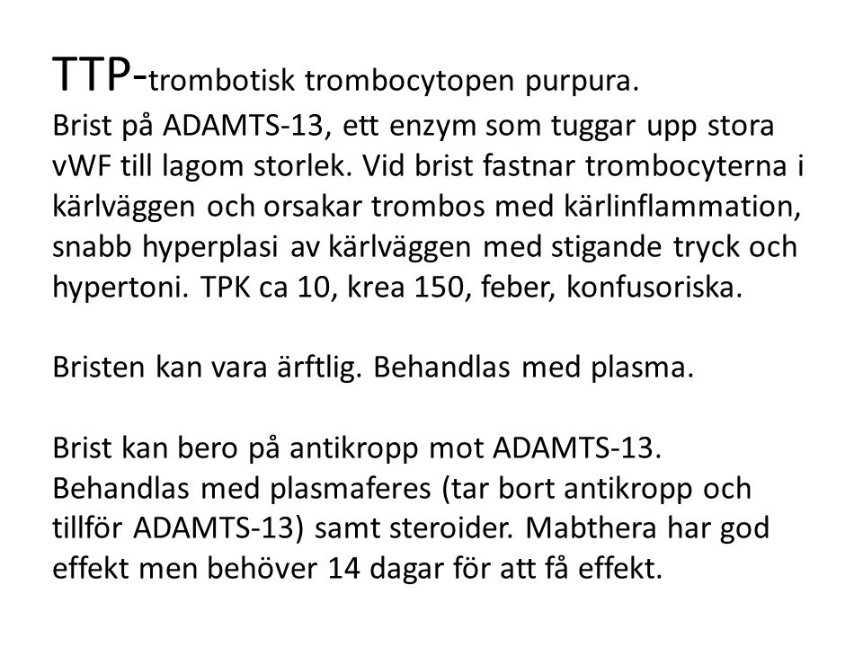 TTP-trombotisk trombocytopen purpura