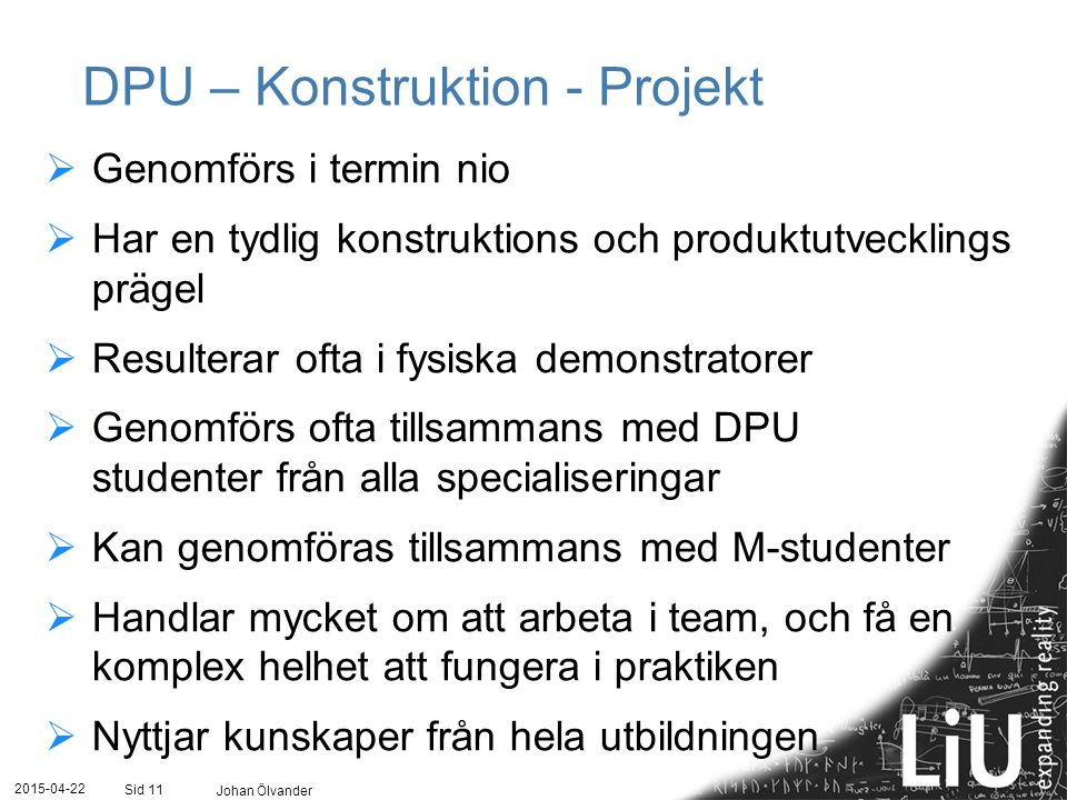 DPU – Konstruktion - Projekt