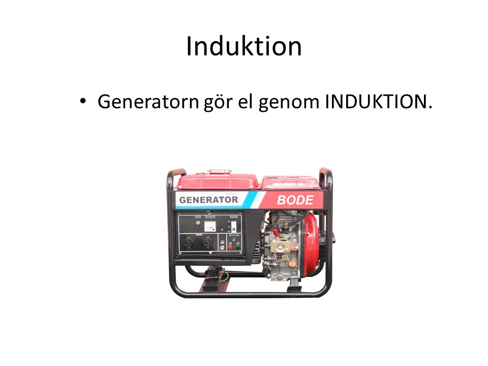 Induktion Generatorn gör el genom INDUKTION.