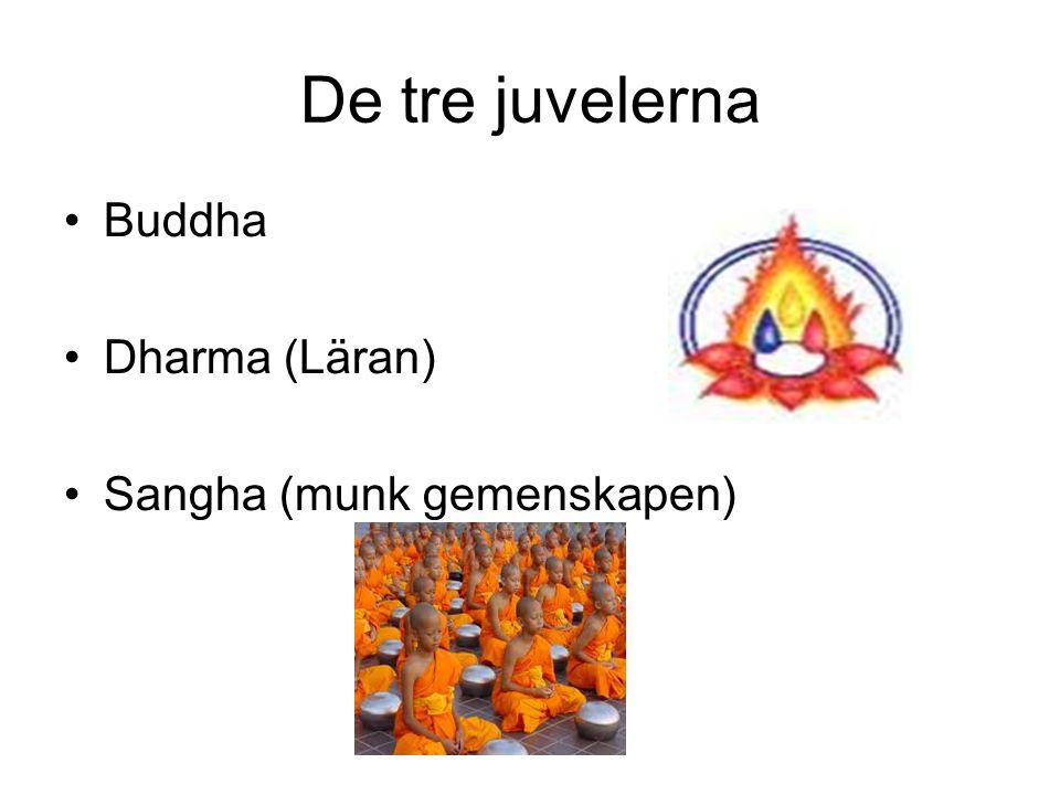 De tre juvelerna Buddha Dharma (Läran) Sangha (munk gemenskapen)