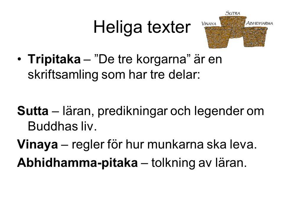Heliga texter Tripitaka – De tre korgarna är en skriftsamling som har tre delar: Sutta – läran, predikningar och legender om Buddhas liv.