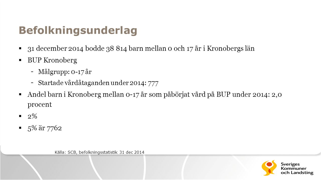 Befolkningsunderlag 31 december 2014 bodde 38 814 barn mellan 0 och 17 år i Kronobergs län. BUP Kronoberg.