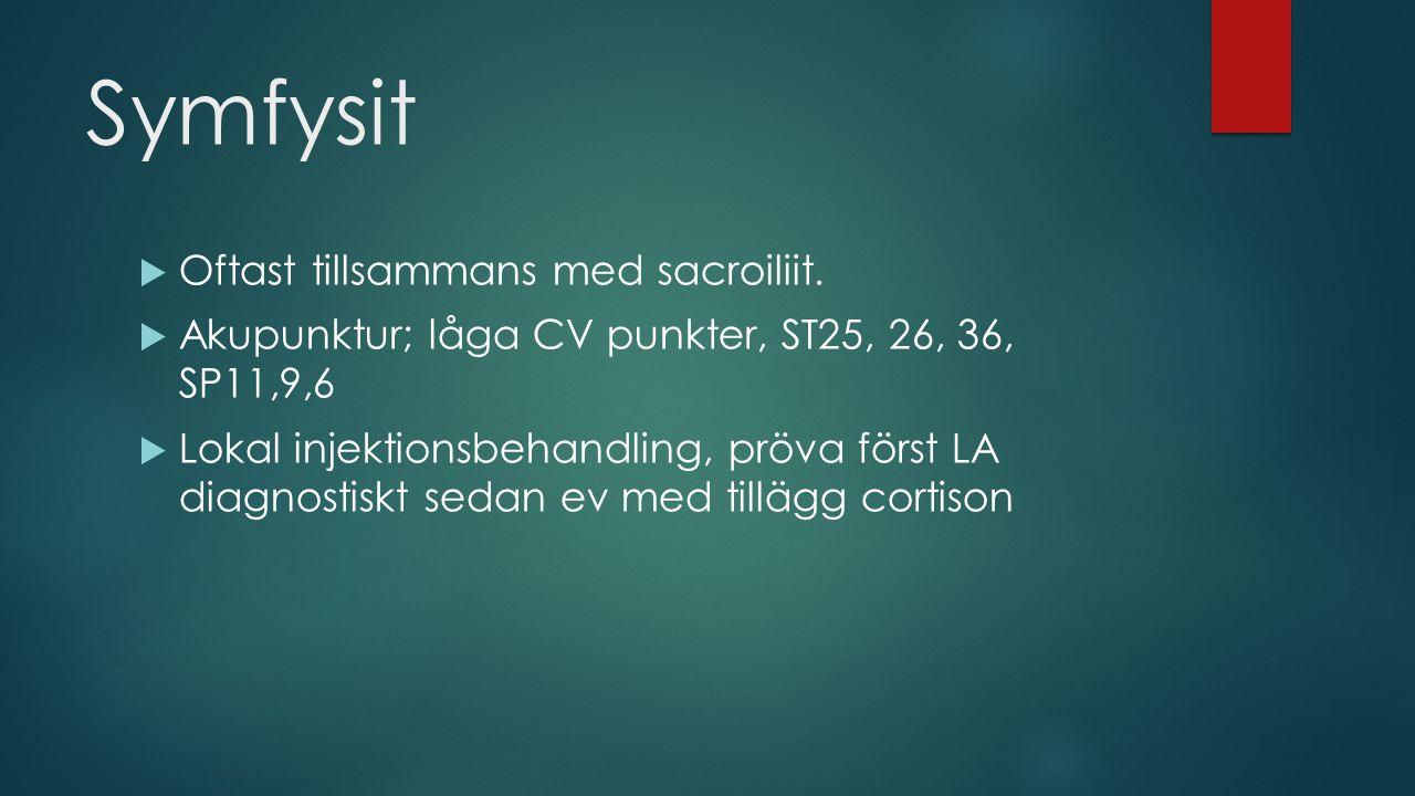 Symfysit Oftast tillsammans med sacroiliit.
