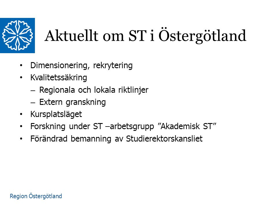 Aktuellt om ST i Östergötland