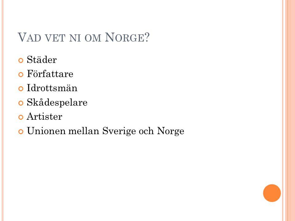 Vad vet ni om Norge Städer Författare Idrottsmän Skådespelare
