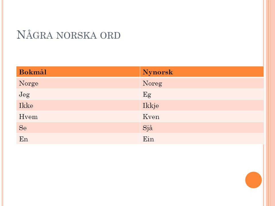 Några norska ord Bokmål Nynorsk Norge Noreg Jeg Eg Ikke Ikkje Hvem