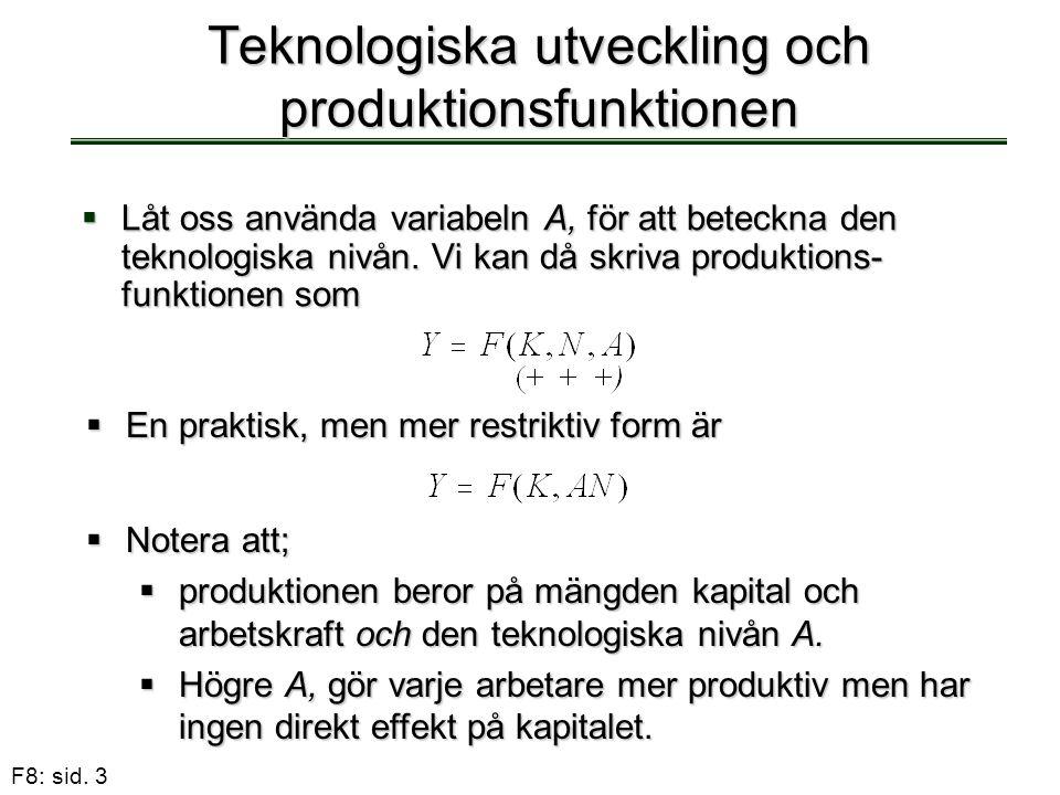 Teknologiska utveckling och produktionsfunktionen