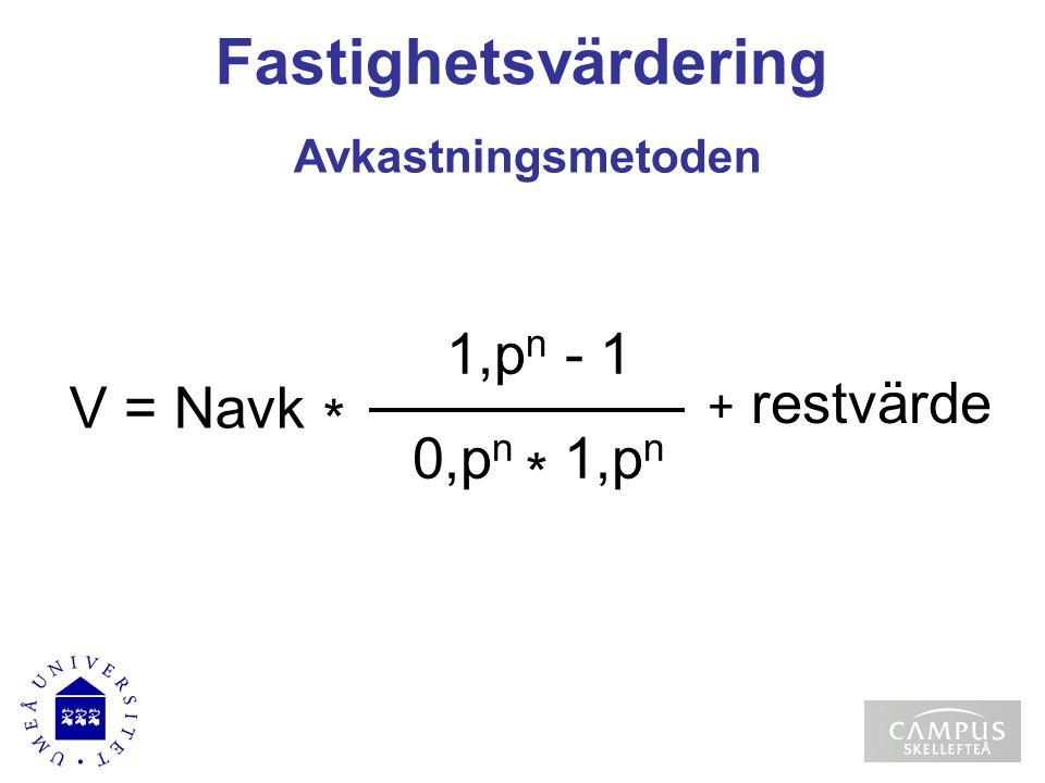 Fastighetsvärdering 1,pn - 1 V = Navk * 0,pn * 1,pn Avkastningsmetoden