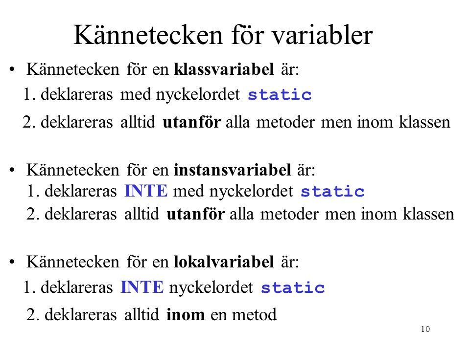 Kännetecken för variabler