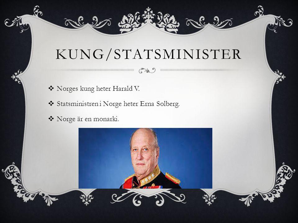 Kung/Statsminister Norges kung heter Harald V.