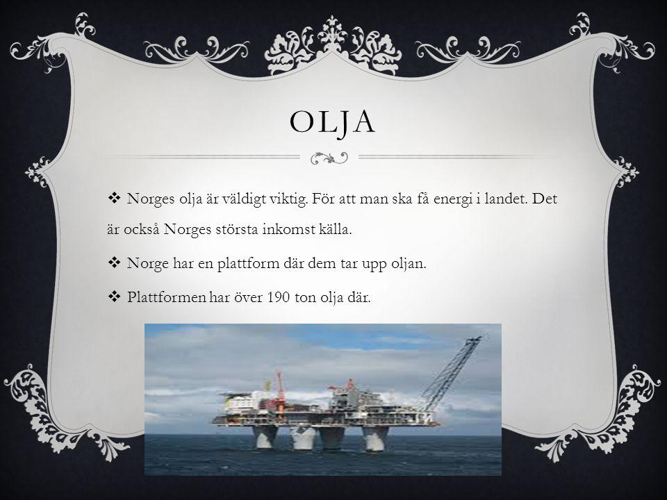Olja Norges olja är väldigt viktig. För att man ska få energi i landet. Det är också Norges största inkomst källa.