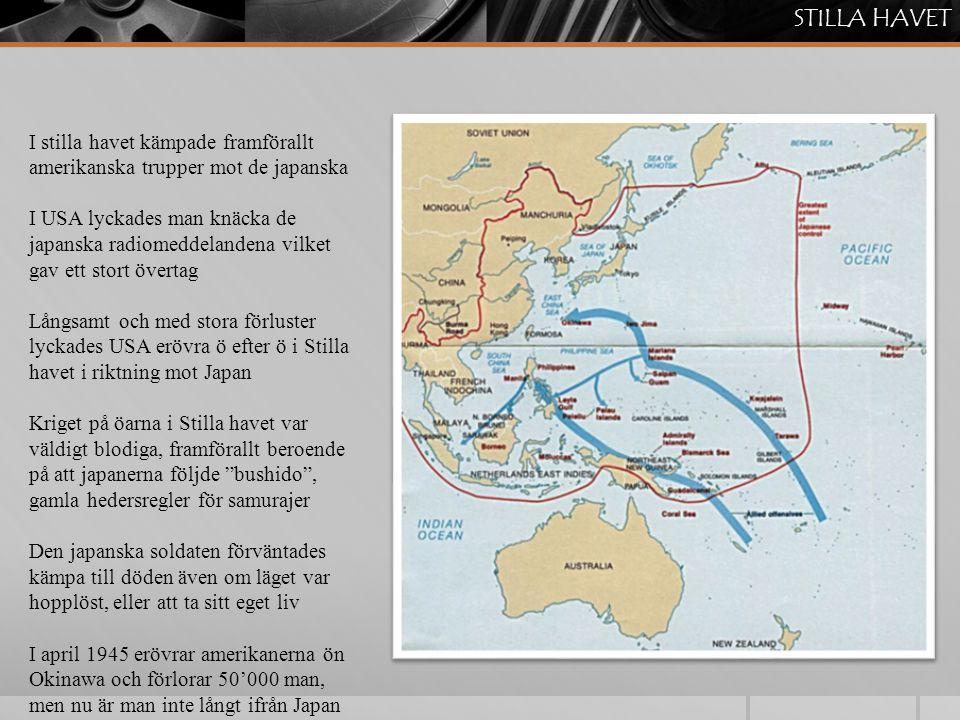 STILLA HAVET I stilla havet kämpade framförallt amerikanska trupper mot de japanska.