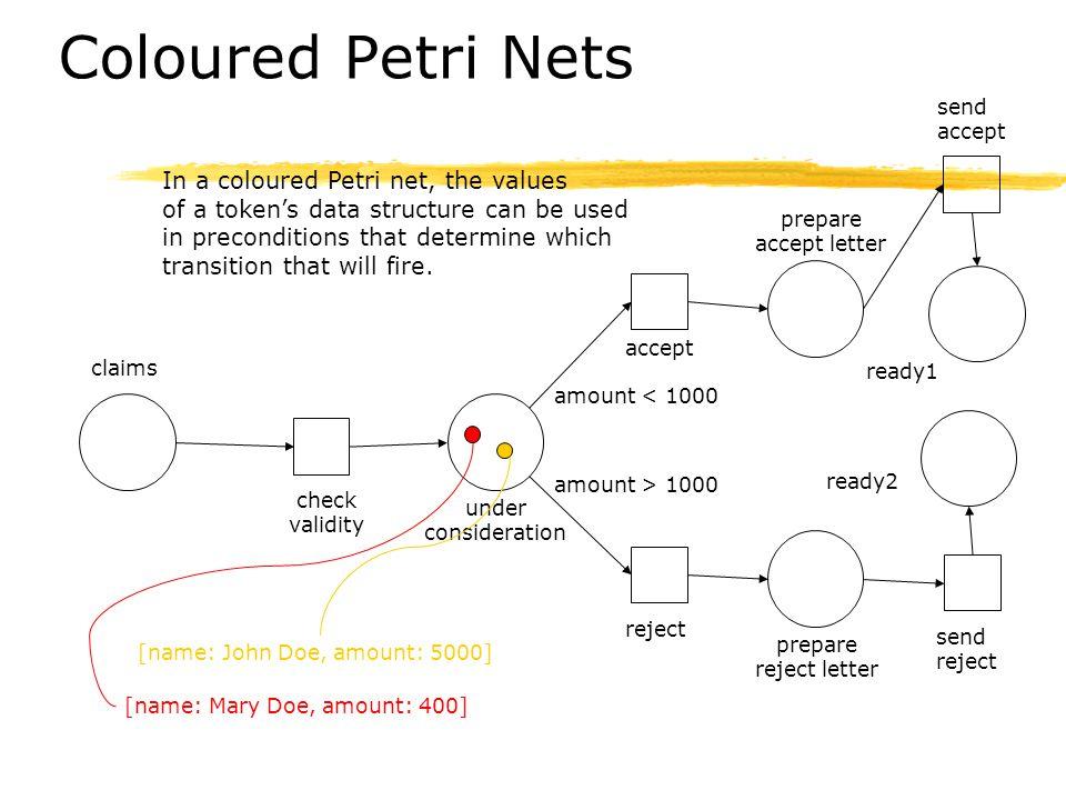 Coloured Petri Nets In a coloured Petri net, the values