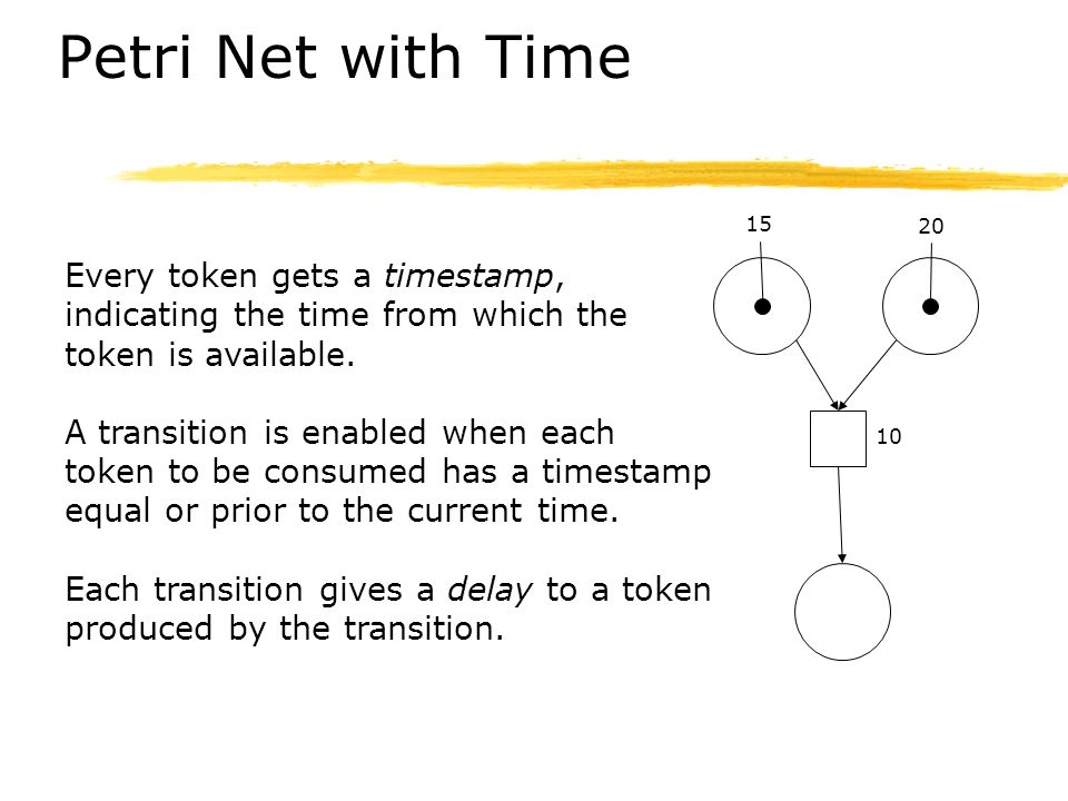 Petri Net with Time Every token gets a timestamp,