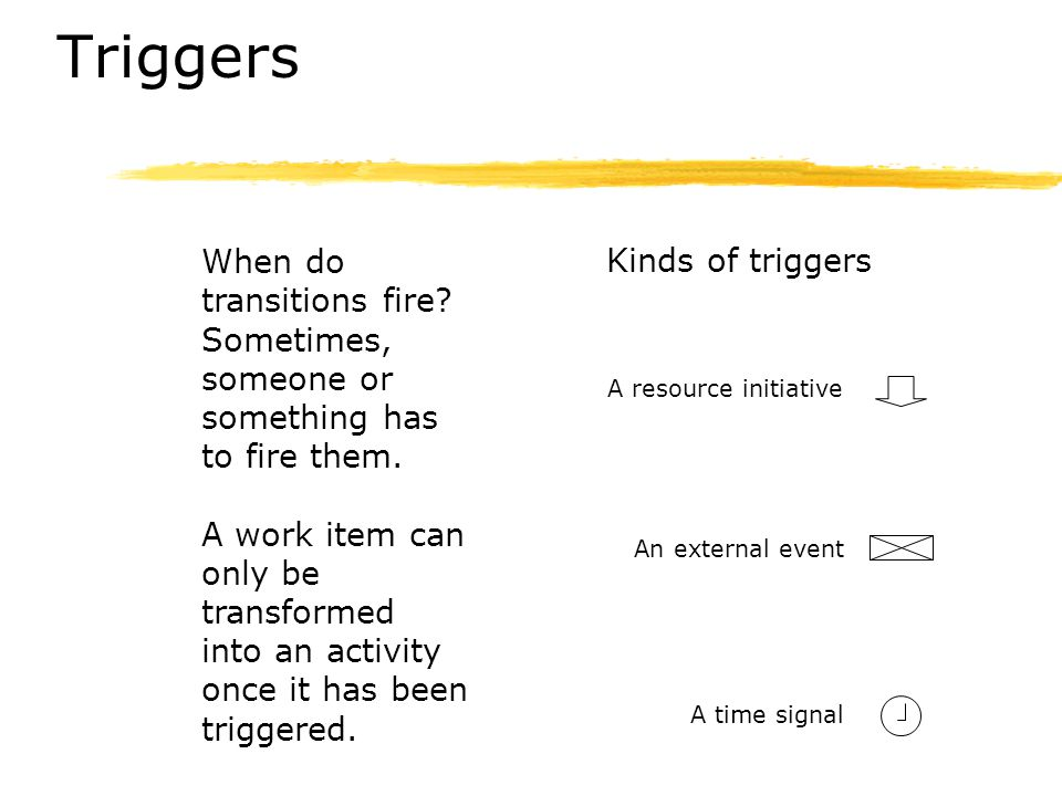 Triggers When do transitions fire Sometimes, someone or something has