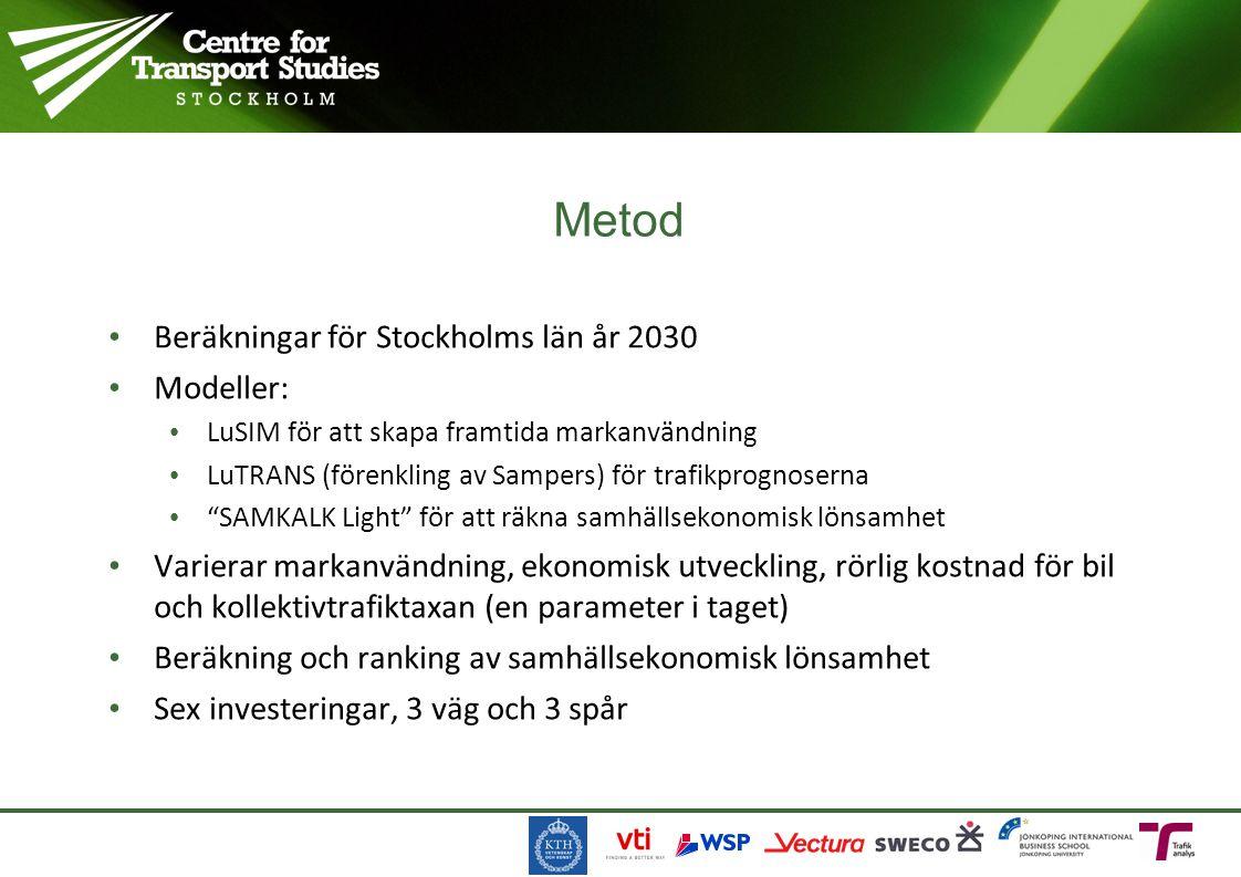 Metod Beräkningar för Stockholms län år 2030 Modeller: