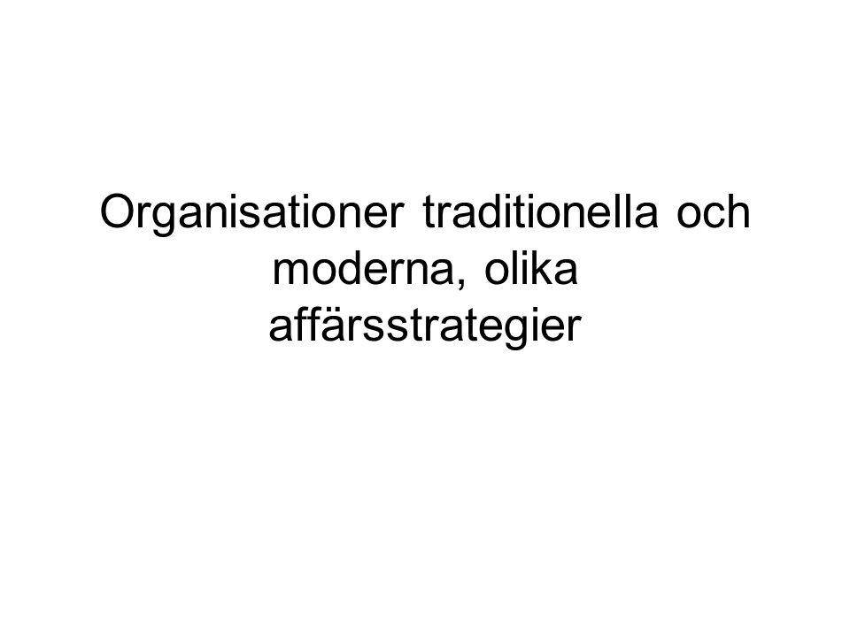Organisationer traditionella och moderna, olika affärsstrategier