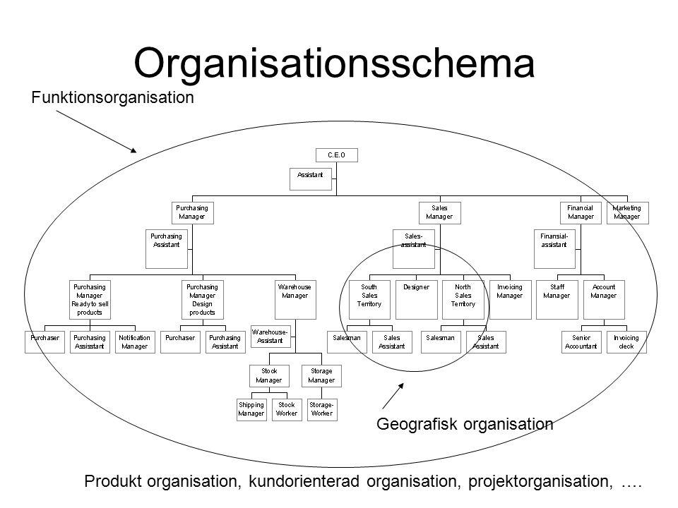 Organisationsschema Funktionsorganisation Geografisk organisation