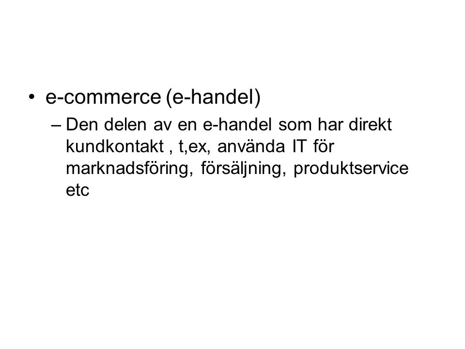 e-commerce (e-handel)