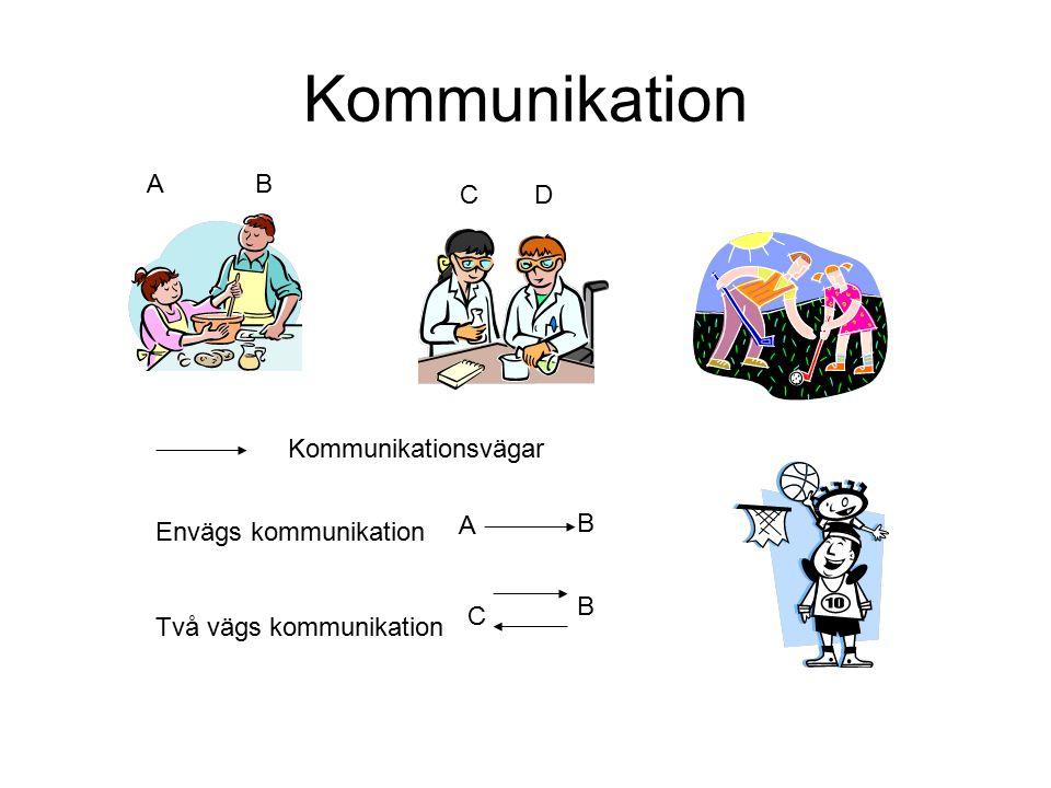 Kommunikation A B C D Kommunikationsvägar A B Envägs kommunikation