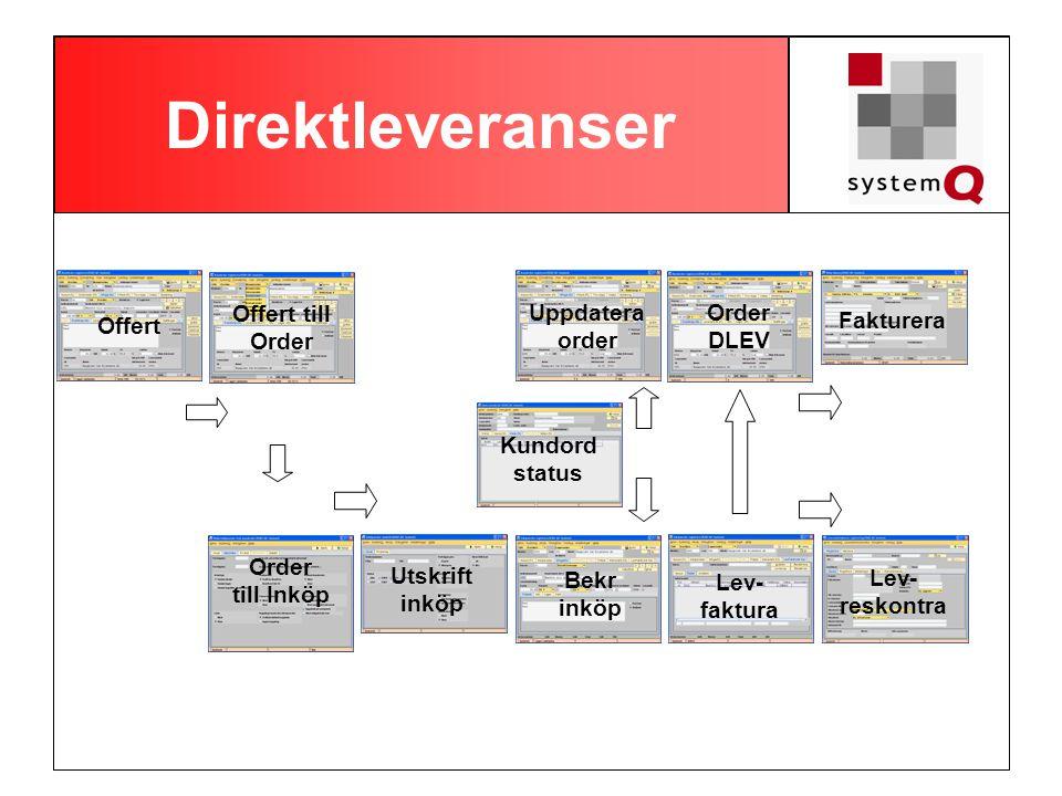 Direktleveranser Offert till Order Uppdatera order Order DLEV Offert