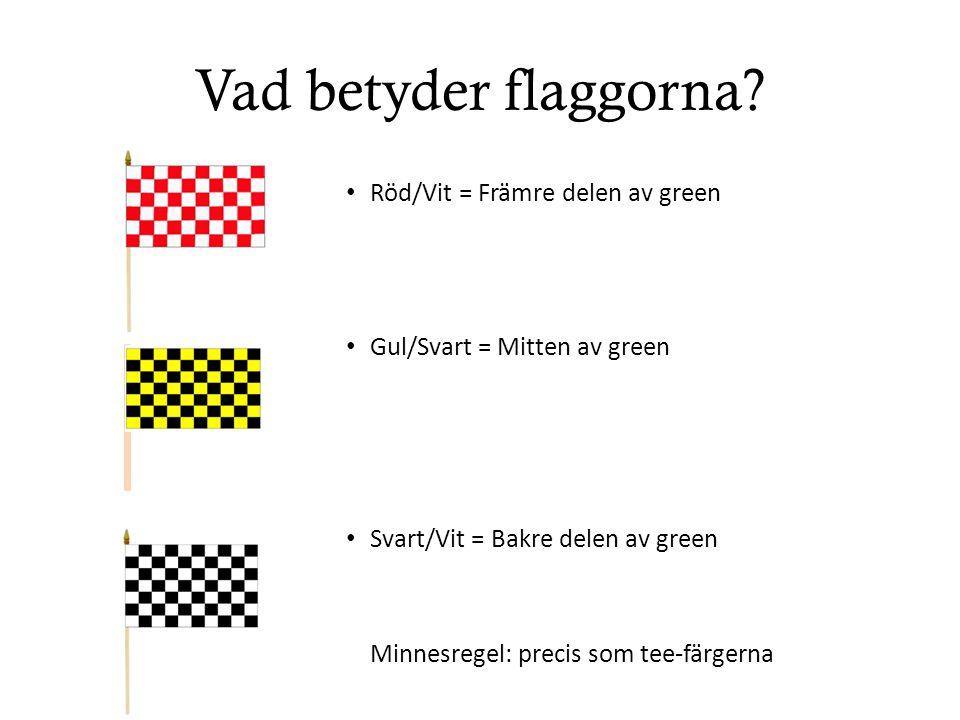 Vad betyder flaggorna Röd/Vit = Främre delen av green