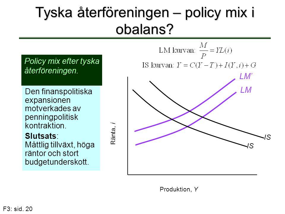 Tyska återföreningen – policy mix i obalans