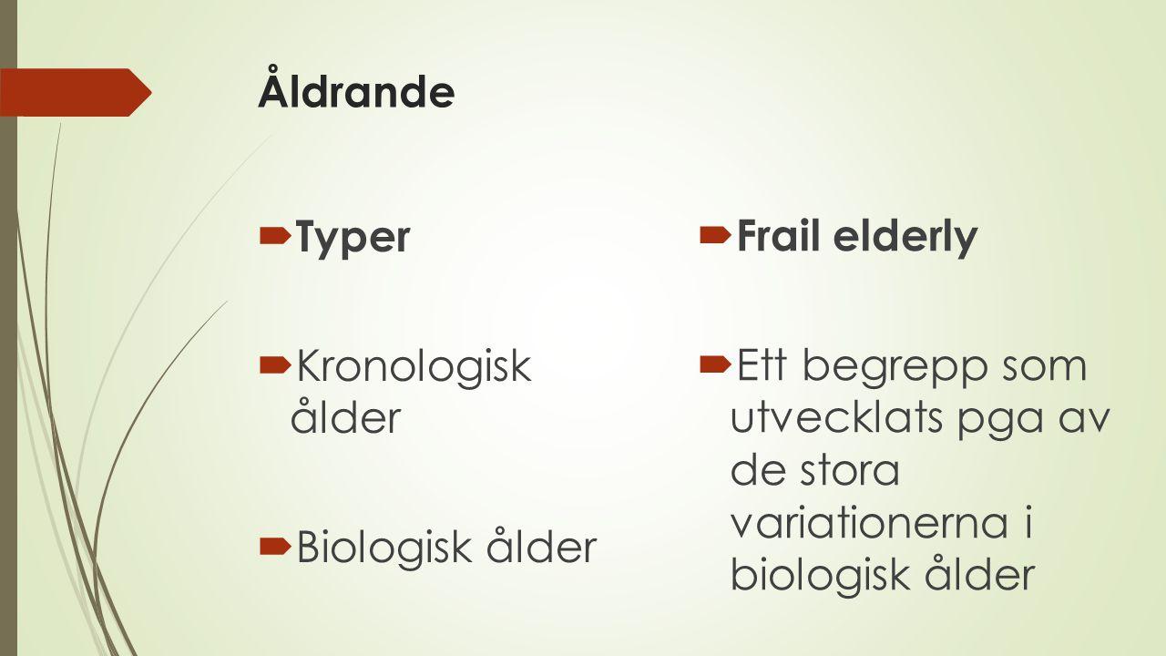 Åldrande Typer. Kronologisk ålder. Biologisk ålder. Frail elderly.