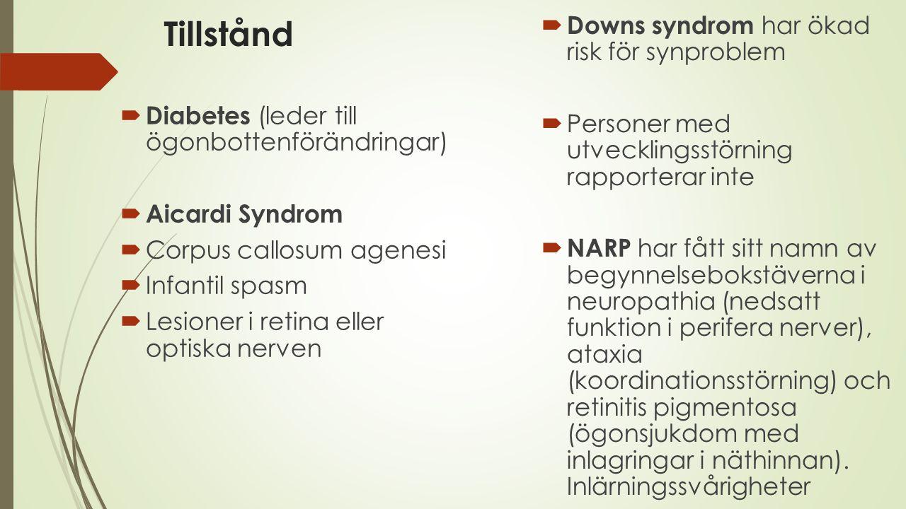 Tillstånd Downs syndrom har ökad risk för synproblem