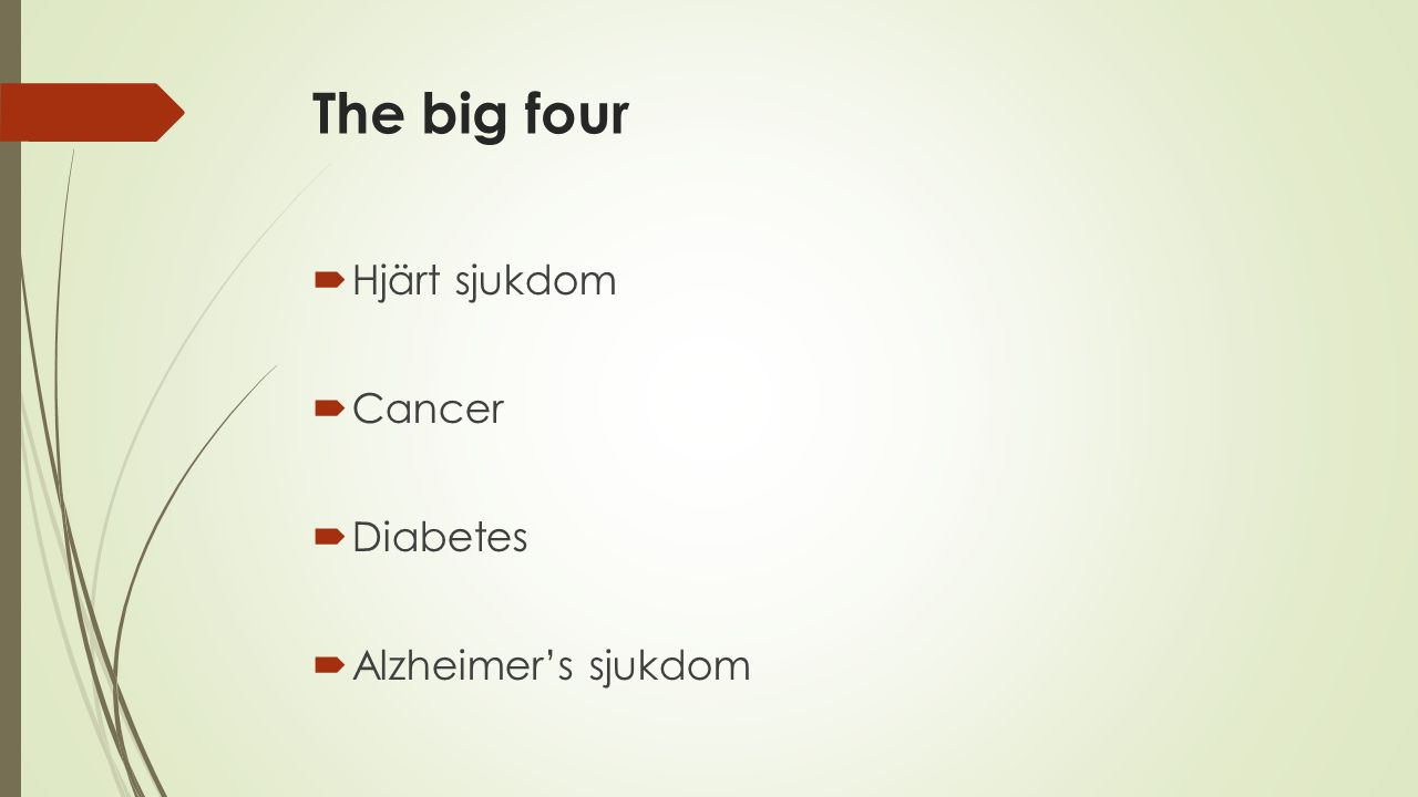 The big four Hjärt sjukdom Cancer Diabetes Alzheimer's sjukdom