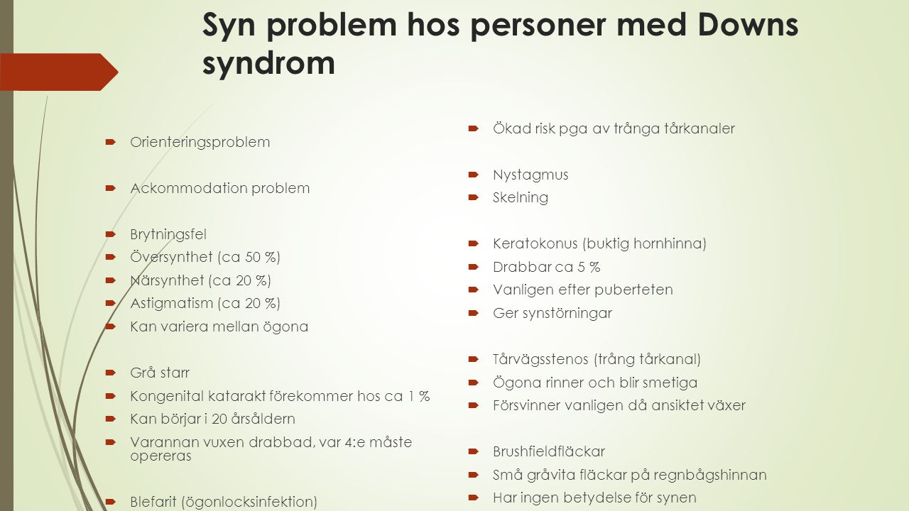 Syn problem hos personer med Downs syndrom