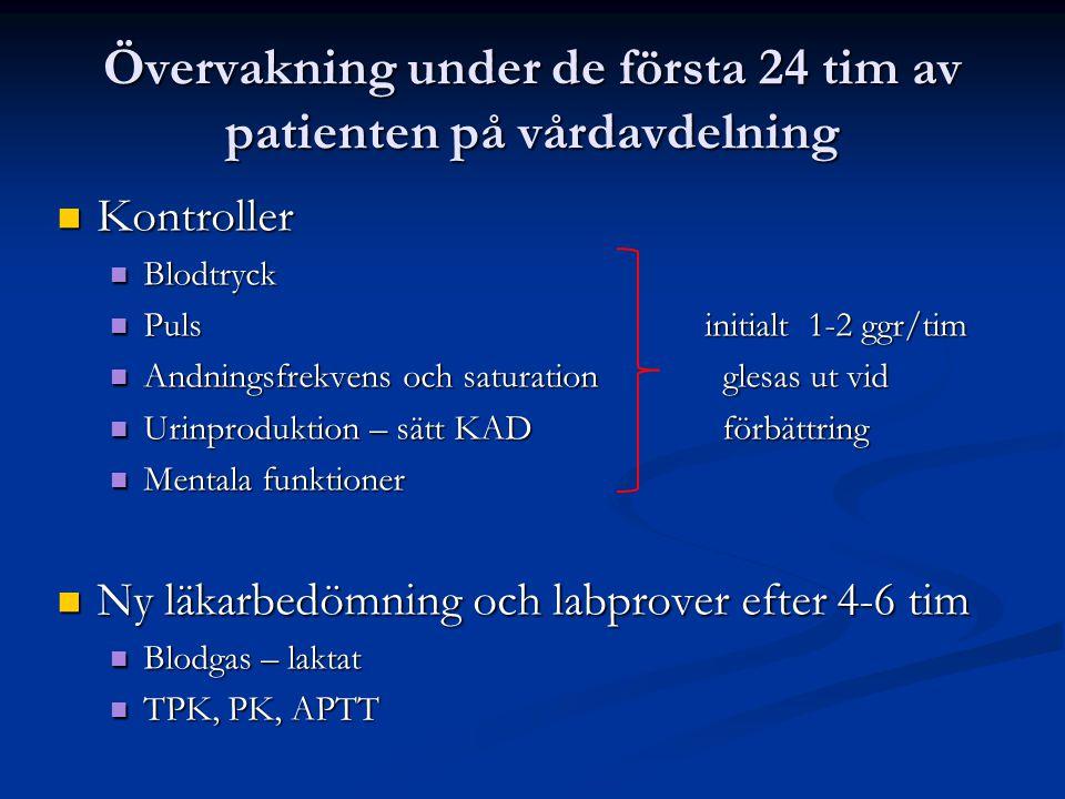 Övervakning under de första 24 tim av patienten på vårdavdelning