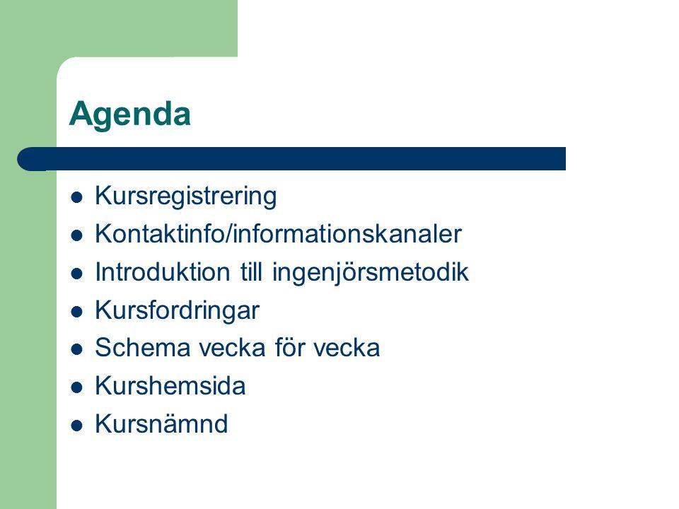 Agenda Kursregistrering Kontaktinfo/informationskanaler