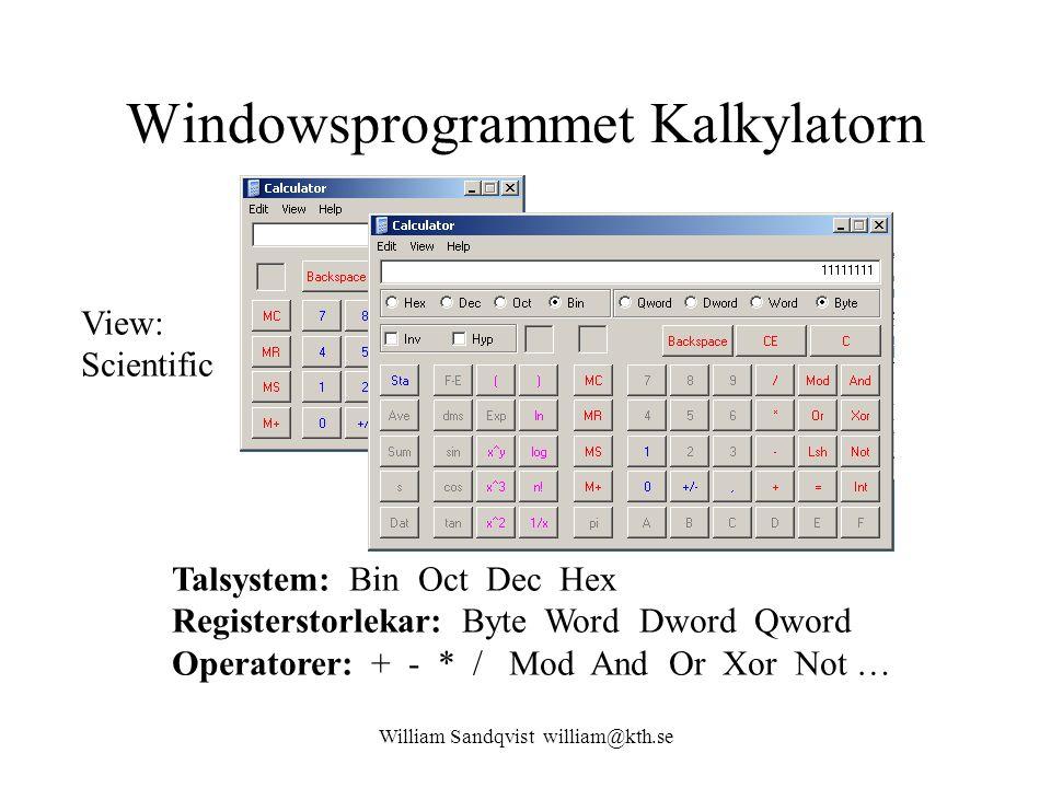 Windowsprogrammet Kalkylatorn