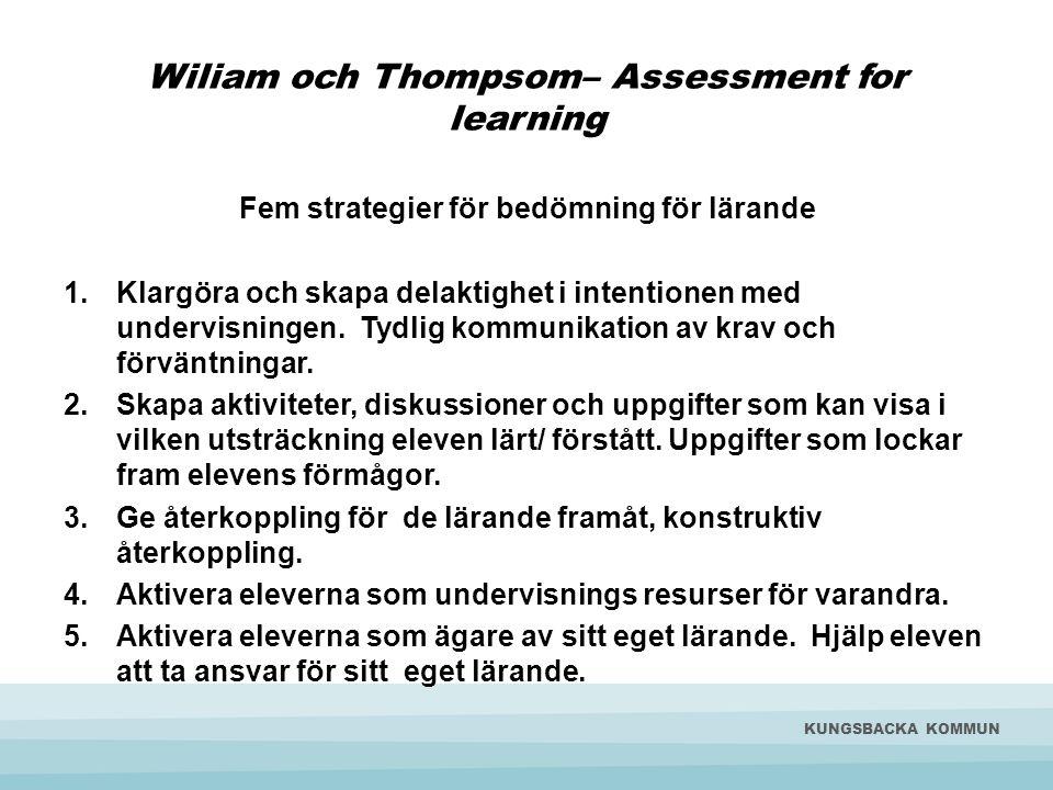 D. Wiliams och Thompson; s 5 nyckelstrategier som en modell.