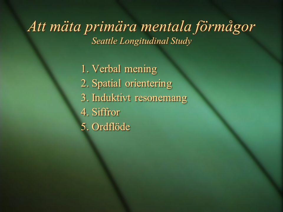 Att mäta primära mentala förmågor Seattle Longitudinal Study