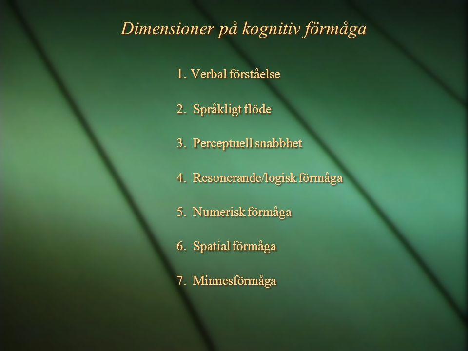 Dimensioner på kognitiv förmåga
