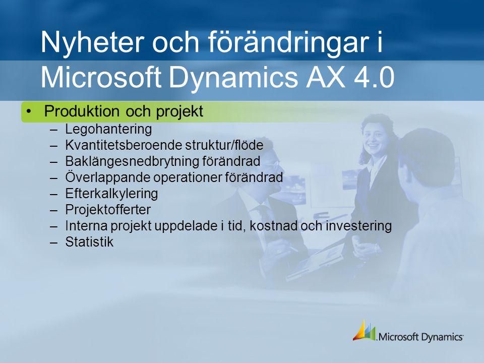 Nyheter och förändringar i Microsoft Dynamics AX 4.0