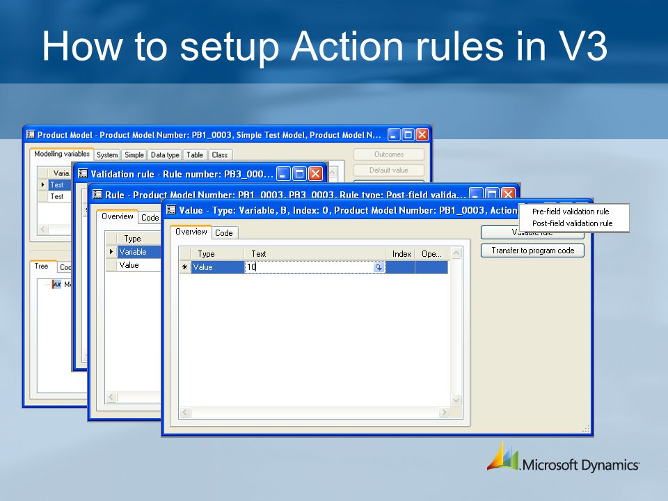 How to setup Action rules in V3