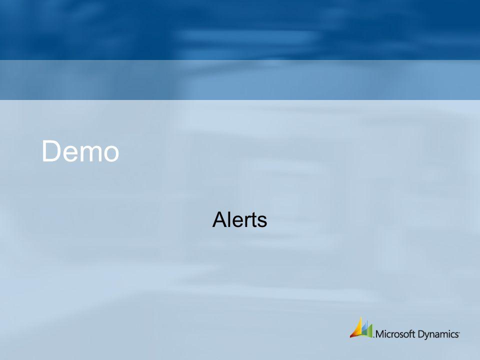 Demo Alerts Layout, sökning, global sökning, alerts