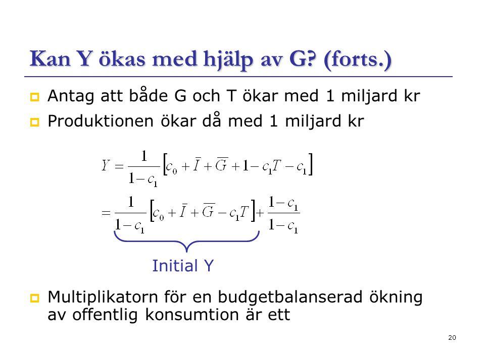 Kan Y ökas med hjälp av G (forts.)