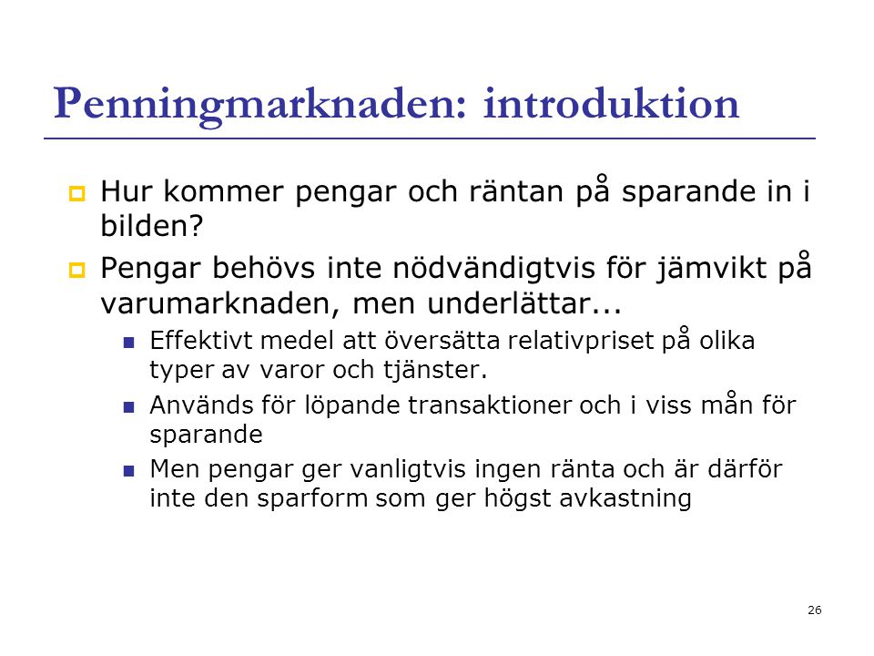 Penningmarknaden: introduktion
