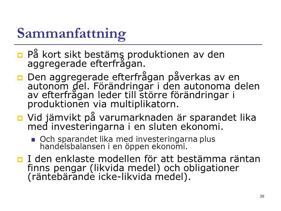 Sammanfattning På kort sikt bestäms produktionen av den aggregerade efterfrågan.