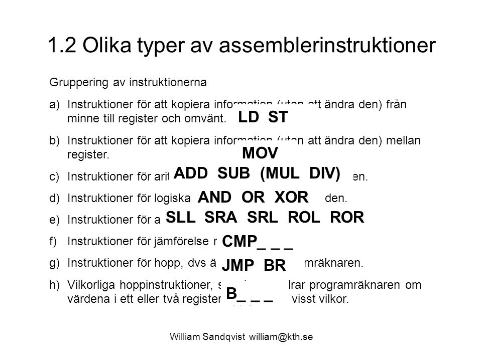 1.2 Olika typer av assemblerinstruktioner