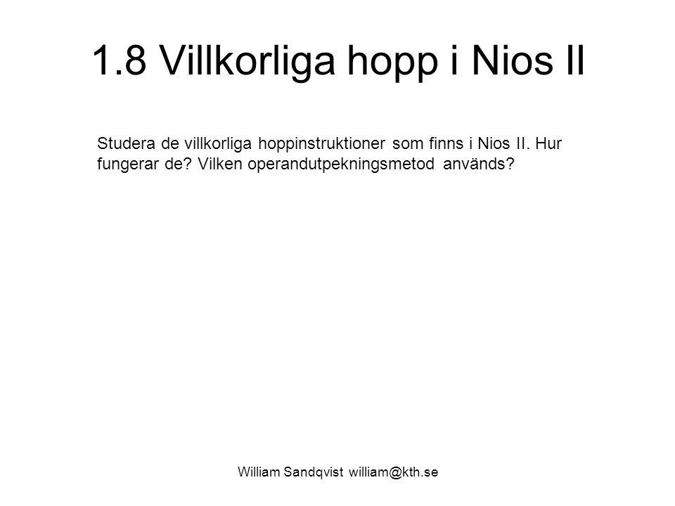 1.8 Villkorliga hopp i Nios II