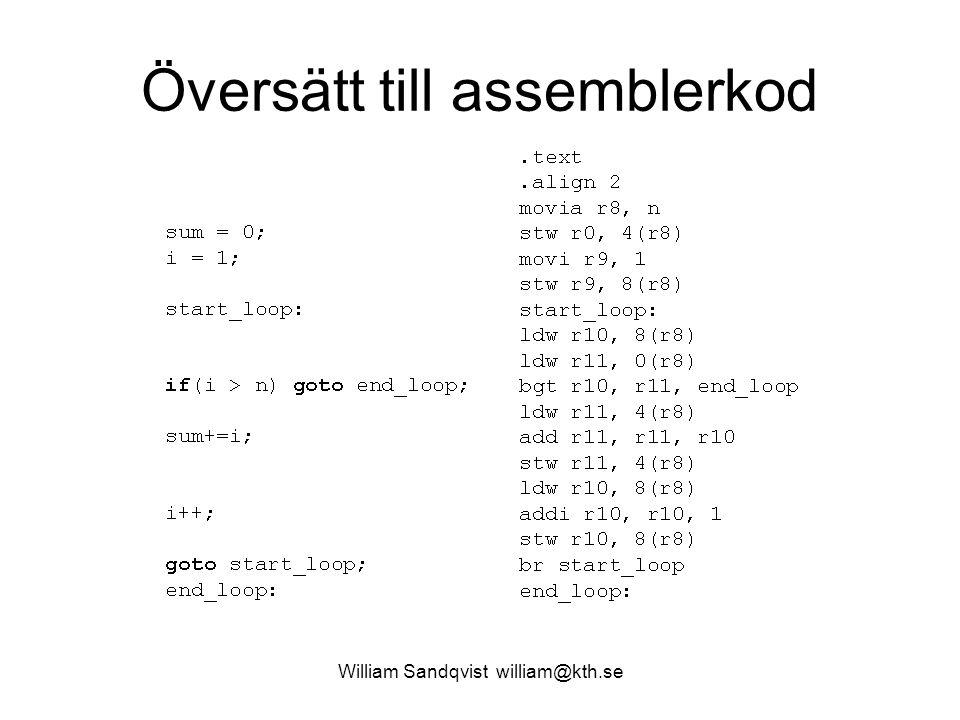 Översätt till assemblerkod