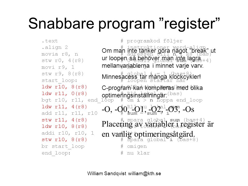 Snabbare program register