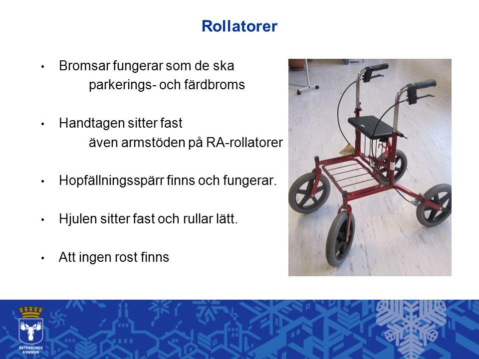 Rollatorer Bromsar fungerar som de ska parkerings- och färdbroms