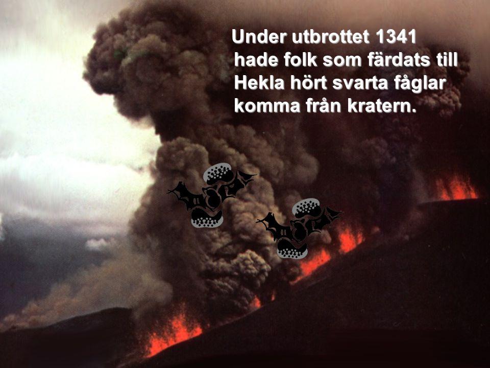 Under utbrottet 1341 hade folk som färdats till Hekla hört svarta fåglar komma från kratern.